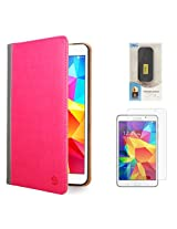 VanGoddy Mary Portfolio Multi Purpose Book Style Slim Flip Cover Case for Samsung Galaxy Tab4 T330/T331 8.0 (Pink) + 6000 mAh PowerBank + Matte Screen