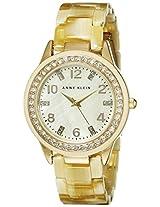 Anne Klein Women's 10/9956CMHN Swarovski Crytals Accented Gold-Tone Horn Resin Watch