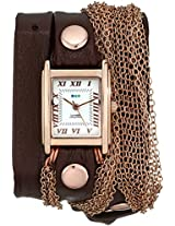La Mer Collections Women's LMDUO1002 Ros Gold-Tone Watch with Wraparound Brown Leather Band