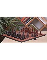 Chessbazaar Combo Of Hurricane Series Chess In Ebony / Bud Rose Wood & Black Anigre Red Ash Burl With Moulded Edges Board