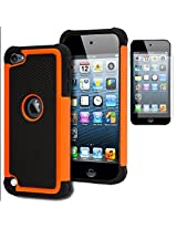 iPod Touch 5 Case, Bastex Heavy Duty Hybrid Protective Case - Soft Black Silicone Cover with Black and Orange [Shock] Design Case for Apple iPod Touch 5
