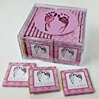 Keepsake Box of 36 Belgian Chocolates for Your Baby Shower or Baby Greeting Gift. It's a Girl! Celebrate Your Baby Girl! (Design: Pink Baby Footprints)