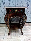 Wooden Hand Carved Side Table, Stool