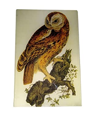 Twigs and Moss Owl on Branch Glass Tray