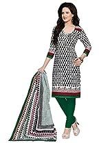Salwar Studio White & Bla & Green Cotton Dress Material with Dupatta SHIMAYAA-1216
