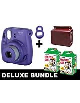 Fujifilm Instax Mini 8 - Purple + 40 Pack Instax Film + Red Wine Gm Bag + Purple Selfie Mirror