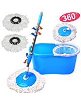 Easy Magic Floor Mop 360° Bucket 2 Heads Microfiber Spin Spinning Rotating Head