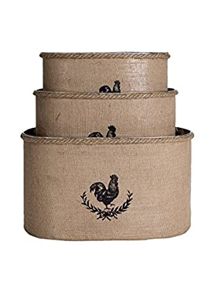 Home Essentials Set of 3 Oval Rooster Galvanized Bucket, Burlap