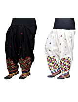Bansal Collection Embroidered Cotton Patialas (Pack of 2)