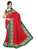 Chinco Banarasi Saree With Blouse Piece (1205-D_Red)