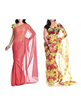 MemSahiba Women Semi-Chiffon Saree set of 2 (MS-1044-652)