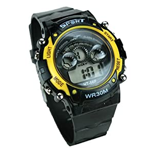 Gasan YS-56 Sports Wrist Watch-Black/Yellow
