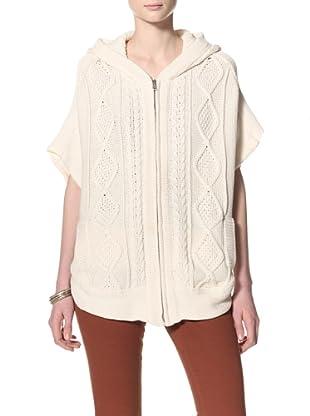 Acrobat Women's Hooded Poncho Sweater (Cream)