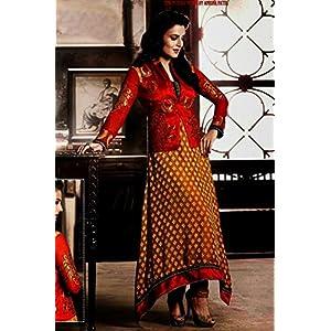 Unstitched Amisha Patel Dark Orange & Musturd Brasso Top With Santoon Bottom & Chiffon Dupatta Heavy Zari Embroidery Work Anarkali Salwar Suit Set