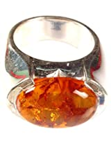 Exotic India Amber Finger Ring - Sterling Silver Ring Size 8.5