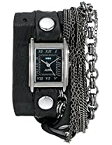 La Mer Collections Women's LMMULTI7000 Carerra Stainless Steel Watch with Black Leather Wraparound Band