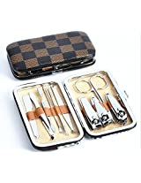 Stainless Steel Manicure Pedicure Set Nail Clippers Cleaner Cuticle Grooming Kit Case 10 In 1 (Black/Checkered)