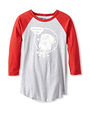 Ames Bros Men's Mellow Out Baseball Tee (Grey Red)