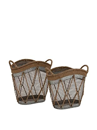 Set of 2 Metal Burlap Baskets