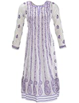 Lucknow Chikan Industry Women's Georgette A- Line Kurta (LCI-446, White, L)