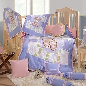 Swayam - 7 Piece Baby Crib Bedding Set Light Purple
