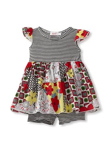 Jupon Baby Samantha Flutter Sleeve Skirted Romper (Red/black)