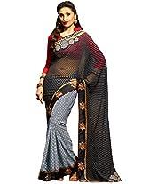 Inddus Women Grey & Black Colored Georgette Embroiderd Saree.