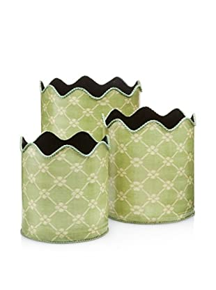 Set of 3 Scalloped Garden Trellis Bins, Green