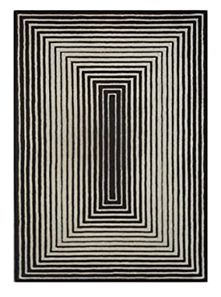 Graphic Pulse Rug, Black/White, 5' x 8'