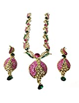 Sneh Round Crafted Coloured Necklace Set For Women