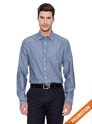 Dockers Camisa de Popelin Lavada (Azul Marino)