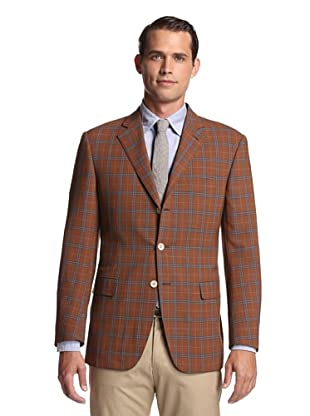 Nikky Men's 3-Button Sport Jacket (Rust/Blue Overcheck)