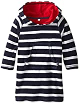 Jojo Maman Bebe Baby Boys Toweling Hooded Pull On, Navy White Stripe, 12 24 Months