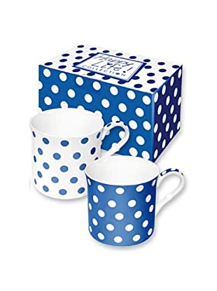 Easy Life Design Set 2 Mug in Porcellana Bone China Happy Pois (Blu)