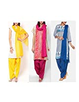 Ashmita cotton set of Patiyall & Dupattas-Fushia,Blue,Yellow-FS