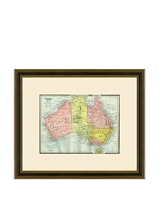 Antique Lithographic Map of Australia, 1883-1903