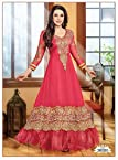 Faux Georget Embroiderd Zari Work Pink Anarkali Suits - Bfmf36000
