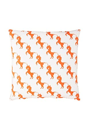 Twinkle Living Unicorns Array Pillow Cover (Orange/White)