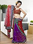 Red,purple Embroidery Viscose Saree: