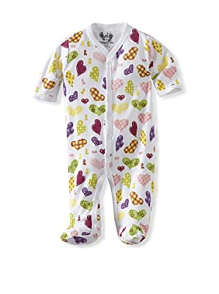Margery Ellen Baby Pima Cotton Footie with Print (Crazy Hearts)