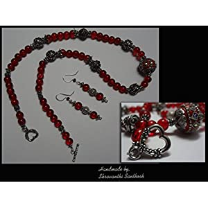 B Jeweled Red Glass Bead Necklace