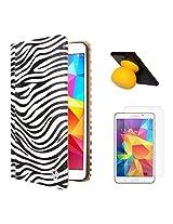 VG Zebra Print Mary Portfolio Multi Purpose Book Style Slim Flip Cover Case for Samsung Galaxy Tab4 T330/T331 8.0 (White) + Bluetooth Suction Stand Speakers + Matte Screen