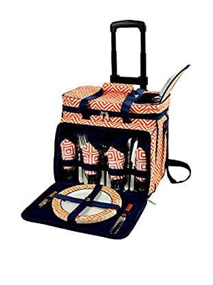 Picnic At Ascot Diamond Collection Wheeled Cooler For 4, Orange/Navy
