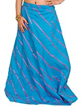 Exotic India Long Ghagra Anchor Skirt with Stitched Ribbons - Color Methyl BlueGarment Size Free Size