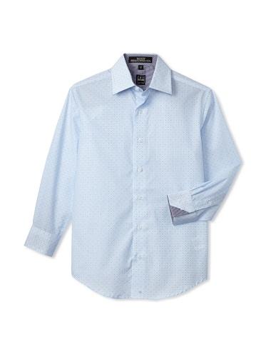 Ike Behar Boy's 8-20 Printed Sport Long Sleeve Shirt (Blue)