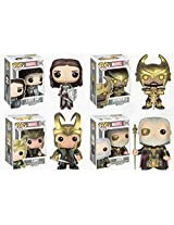 Funko MARVEL LOKI WITH HELMET - LADY SIF - HEIMDALL & ODIN 3.75 POP FIGURE SET