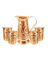 AsiaCraft Handmade Designer Best Quality Pure Copper Jug Pitcher Capacity 1.2 Liter With 4 Glass for Kitchen Home Ware Restaurant Ware Hotel Ware Home Decorate for Good Health Benefits Indian yoga Ayurveda