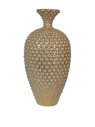Three Hands Hobnail Ceramic Vase (Gold)