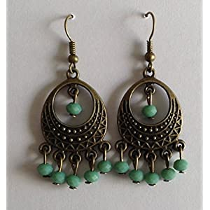 Surya Creations Antique Finish Turquoise Beaded Earrings