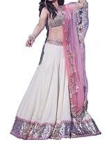 Ninecolours Bollywood Style Madhuri Dixit Net Lehenga In White Colour NC1066